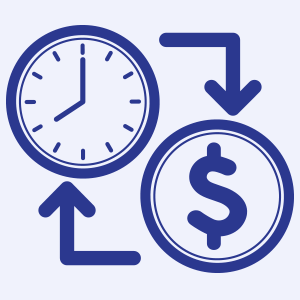 Clock and Dollar Sign Graphic